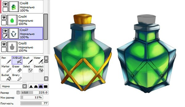 Coloring potion using Clipping group
