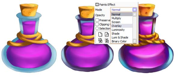 Brightening potion using Overlay layer