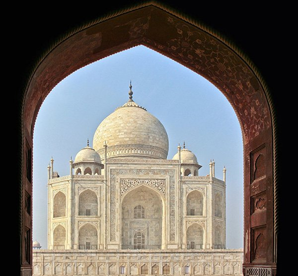 Picture of one of the Taj Mahals many Vistas as seen through the long narrow corridor that approaches it