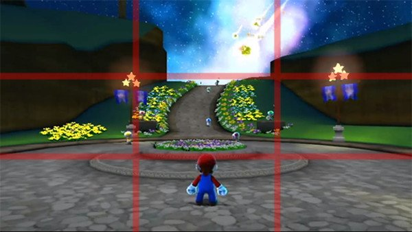 Super Mario Galaxy with Rule of Thirds gridlines