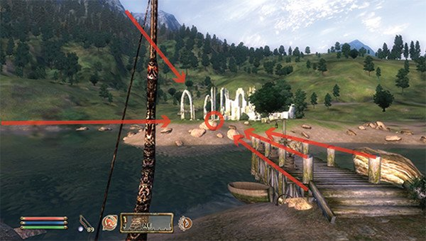 Elder Scrolls Oblivion with environmental lines highlighted