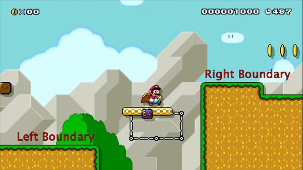 A challenge where Mario must jump on and off a moving platform above a bottomless pit