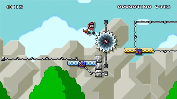 A Mario level with two moving platforms and a Grinder