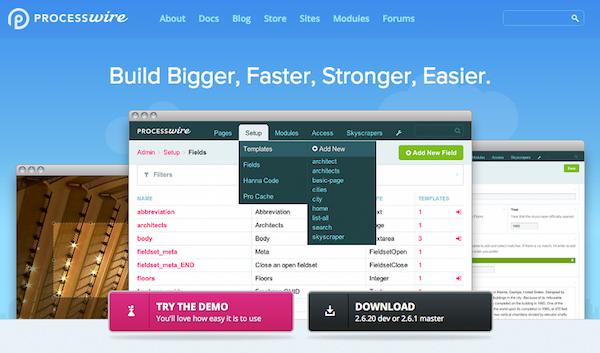 Screenshot of the ProcessWire website