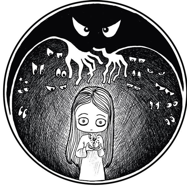 Pen and ink illustration created in homage to the Quem Tem Medo book series entitled Quem Tem Medo de Escuro