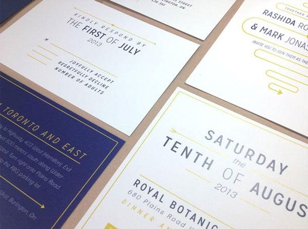 Wedding invites showcasing graphic design