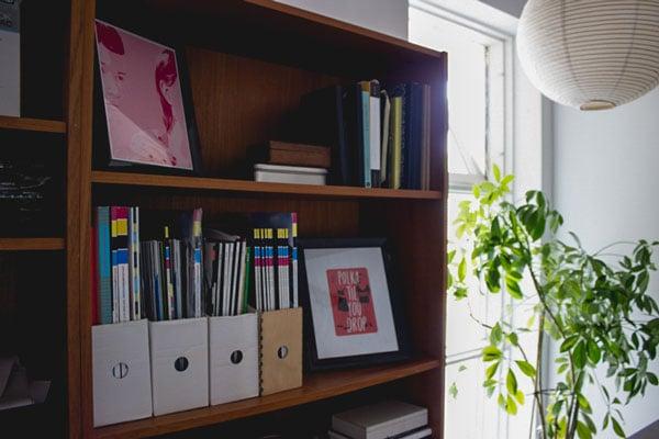 Sabrinas workspace and bookshelves