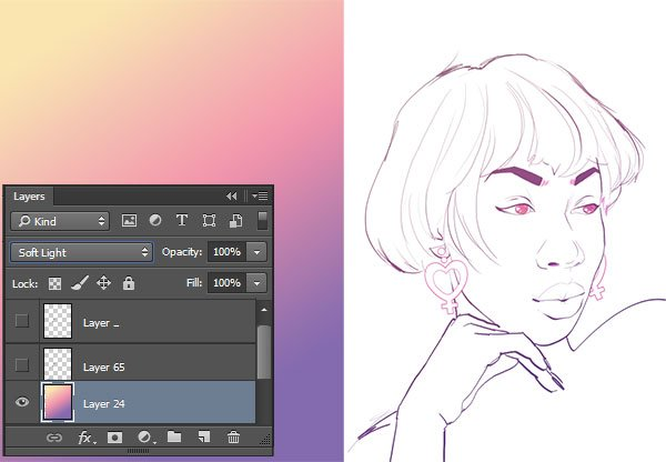 Using a gradient to color line art