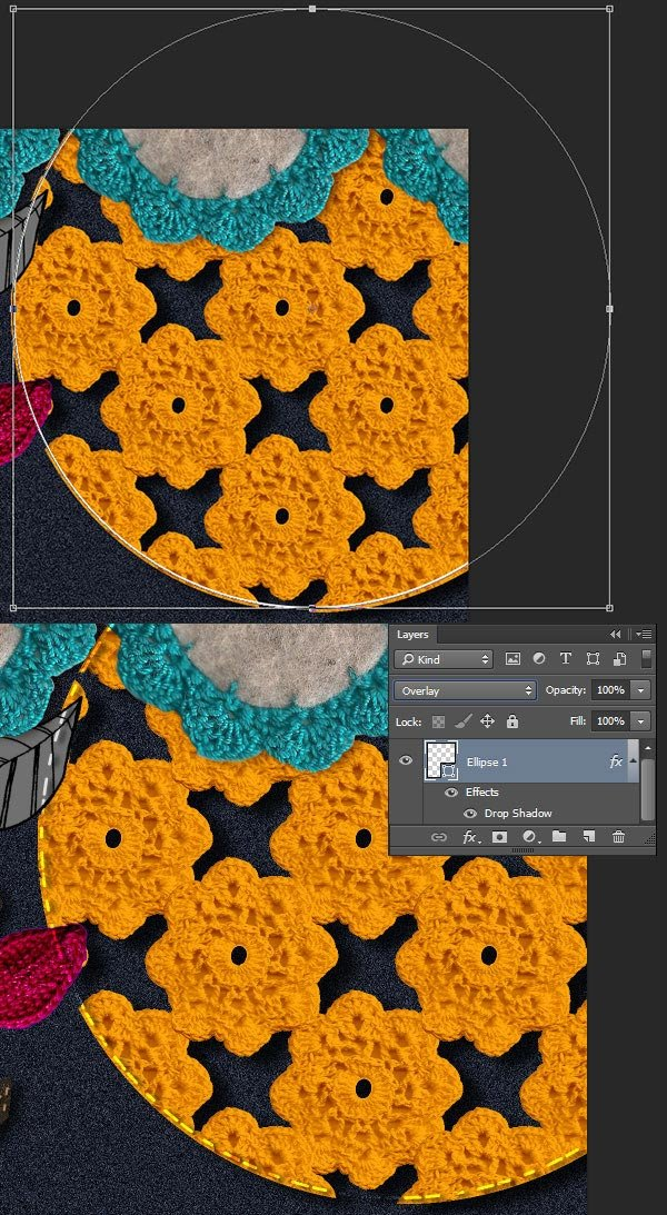 Use shape tools to draw in sewn lines