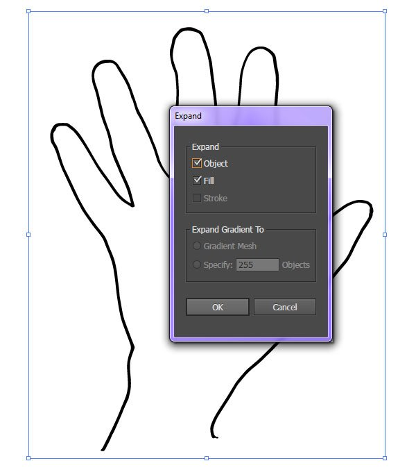 Expand your hand outline