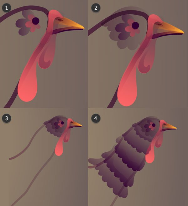 Draw the turkeys head and neck feathers