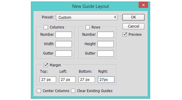 Setting up the first set of margin defined grid lines