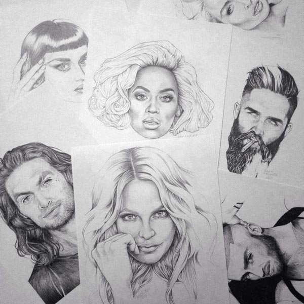 Various celebrity graphite portraits