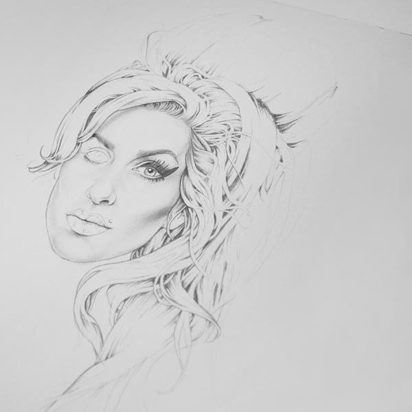 Graphite sketch of Amy Winehouse