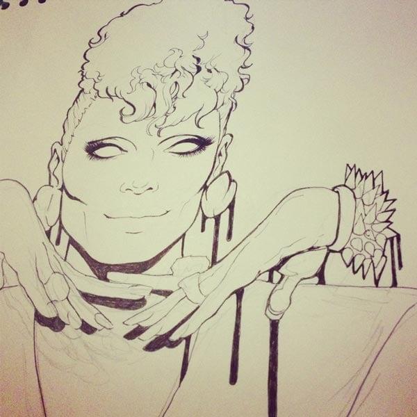 Line work of drag queen Raven