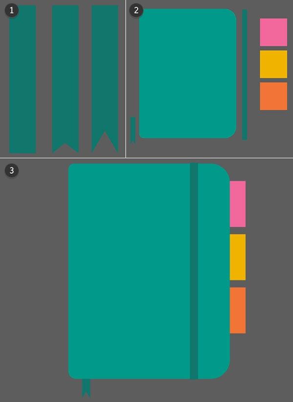 A few rectangles create a replica of my design notebook