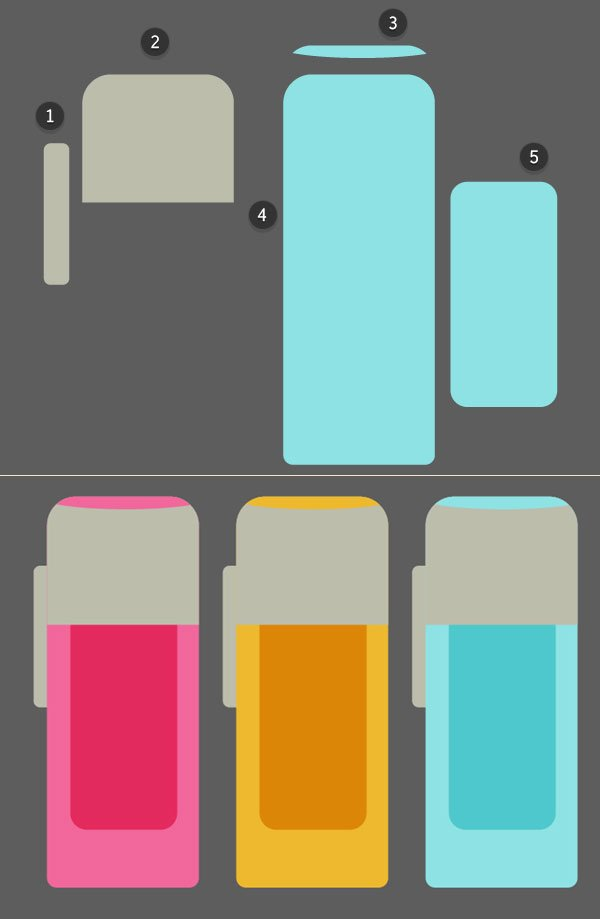 Create a set of small highlighters of rounded rectangles