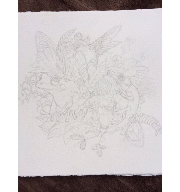 Line art for one of the paintings in his Native series