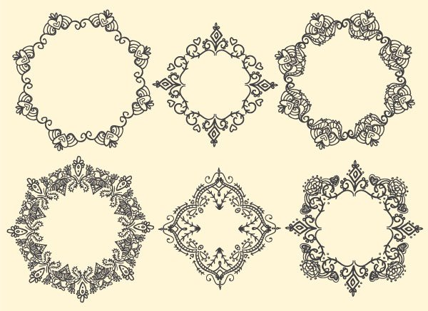 A whole set of ornate frame designs