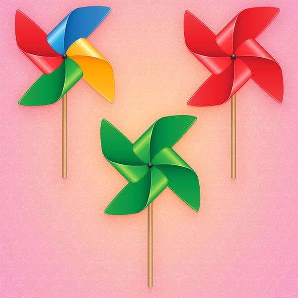 Duc Su created multi-colored pinwheel illustrations