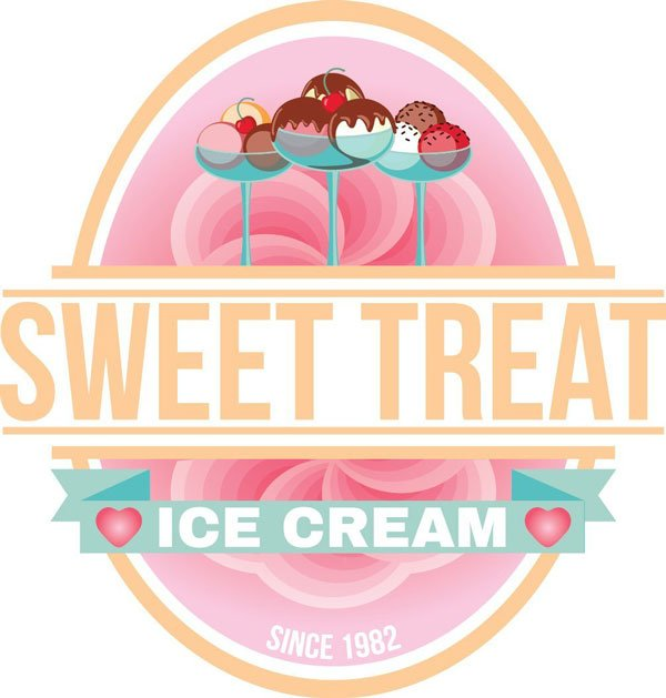 Peachyboness version of the ice cream shop logo design