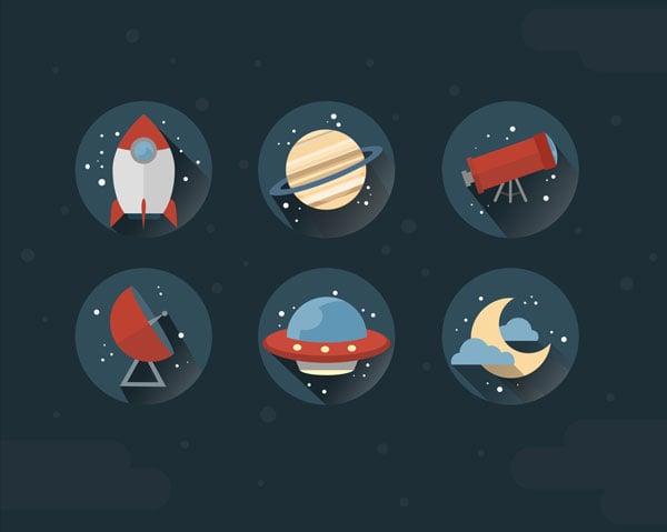 Joy Phams space icon set