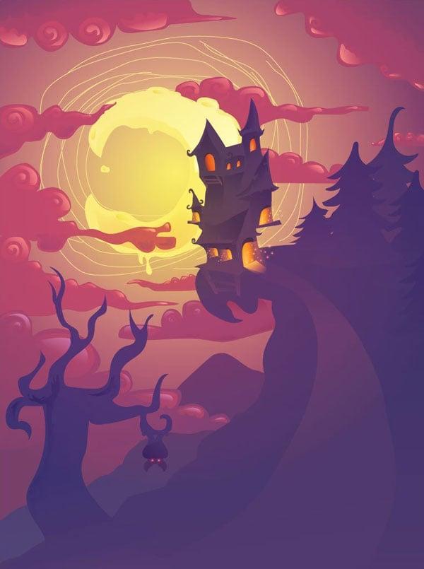 Tanjas Halloween scene illustration