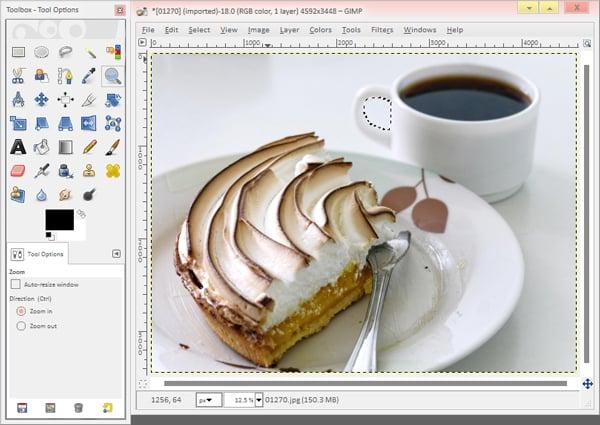 The Gimp interface when editing photos
