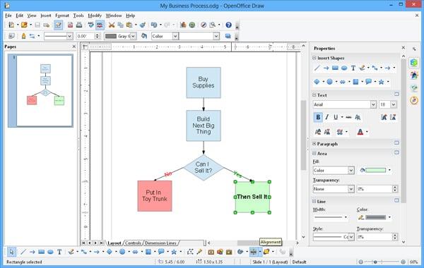 OpenOffice Draw user interface