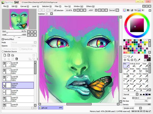Paint Tool SAI interface