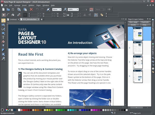 Xara Page user interface and welcome screen