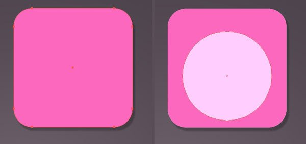 Draw a square and circle for the start of Princess Bubblegums face