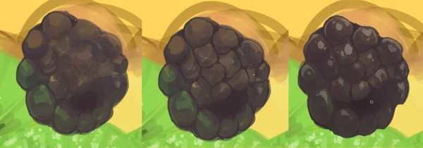 Further render and refine your blackberry fruit