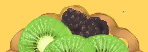 Copy paste and place your blackberries behind the kiwi fruits