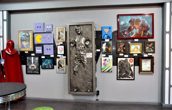 Opening day at Slushbox Gallerys The Geek Strikes Back NerdCore III run by JR and Amanda Linton