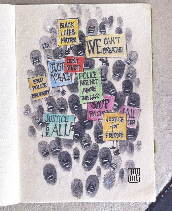 Jacqueline Thompson brought a powerful message to the fingerprint design community project from a tutorial by Melody Nieves