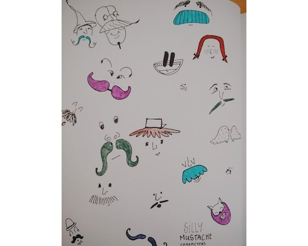 User Dovile joined in on the fun with a community project drawing fanciful mustache characters in a tutorial by Mary Winkler