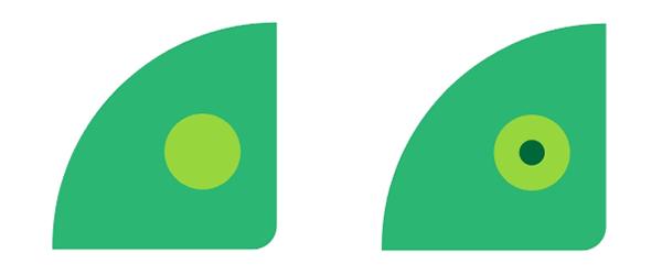 Use circles to draw the basic eye shape
