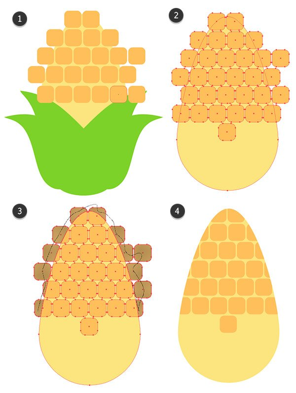 Draw rounded rectangles to form the corn kernels and use the shape builder tool to delete them from the corn cob