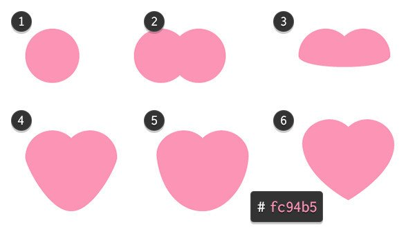 Use a couple circles to draw a simple heart