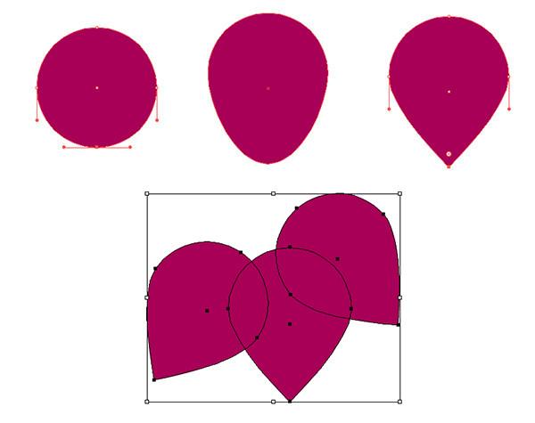 Draw three upside down teardrop shapes