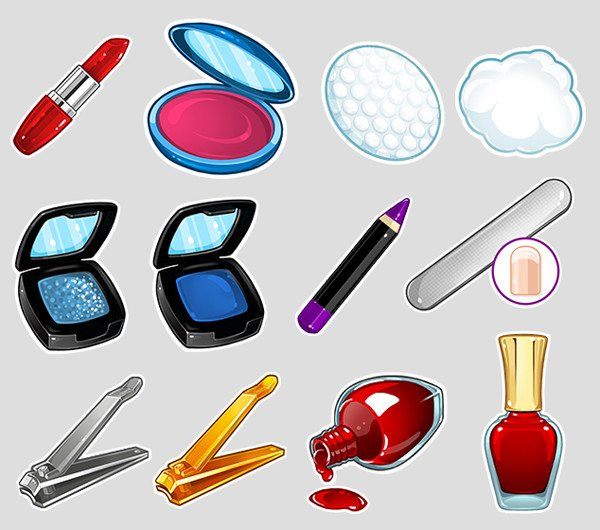 Illustrated game assets for Salon Mobile Game by Alex fitzgerald