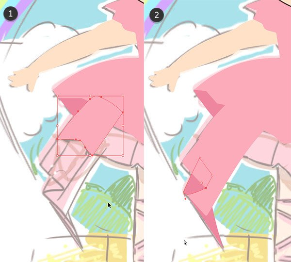 Drawing and layering the ruffled dress components