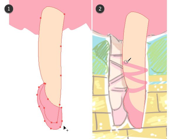 Using alternative tools to create shapes for the leg