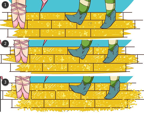 Draw sparkle shapes on the bricks