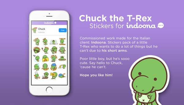 Chuck the T-Rex Stickers for Indoona