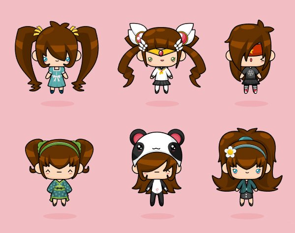 In kawaii design giant adorable character heads easily float above their tiny bodies and remain adorable