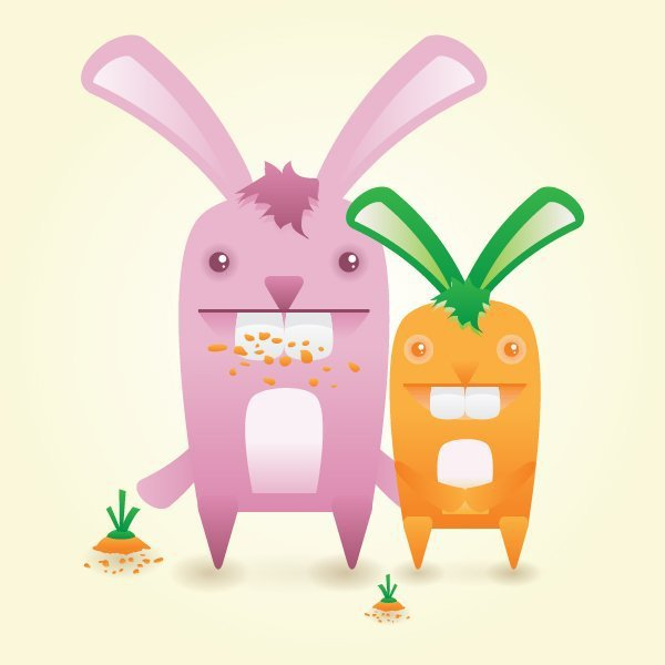 User gi shared their own fun version of a cute bunny vector and its cute carrot friend thanks to a tutorial by Ryan Putnam