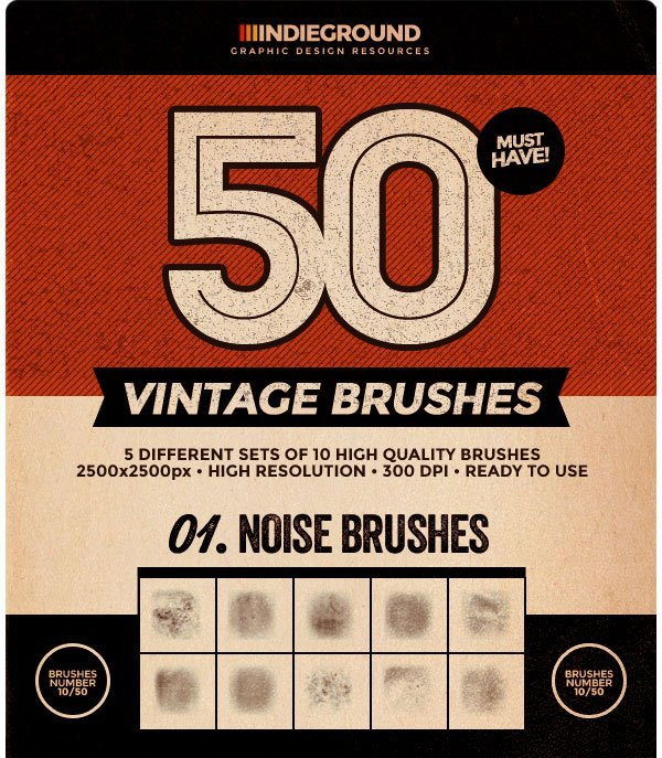 50 Vintage Brushes Set