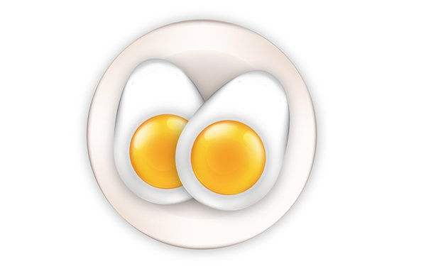 Complete the eggs on a plate icon